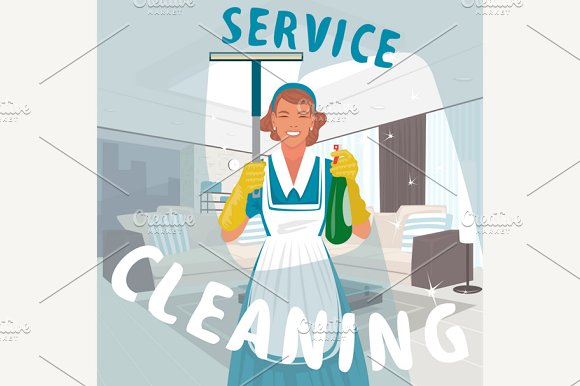 Cleaning Woman Washing Window