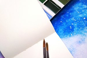 Mockup notebook watercolor paint