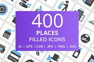 400 Places Filled Blue & Balck Icons