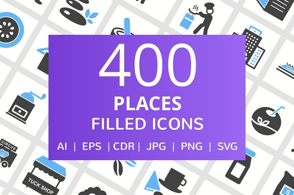 400 Places Filled Blue Balck Icons