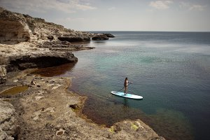 Woman Paddling on SUP