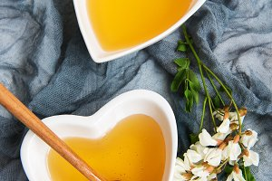 Honey and acacia flowers