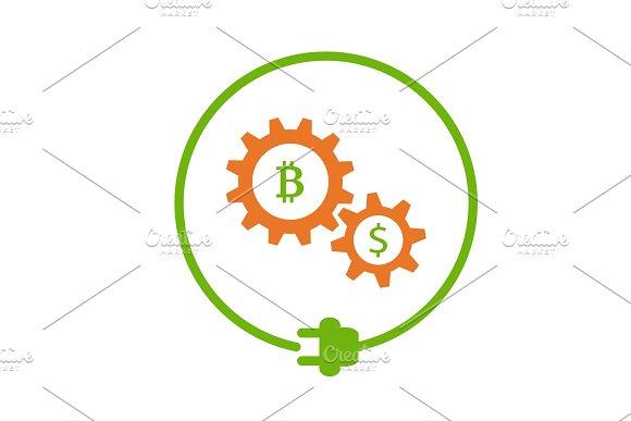 Bitcoin Mining Flat Icon