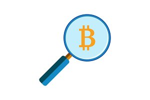 Magnifying glass with bitcoin