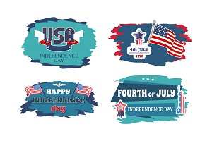 Fourth of July Happy Independence Day Banners