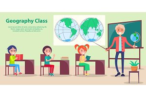 Geography Class at School Vector Illustration