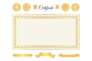 Official Certificate Gold Decorative Elements Set
