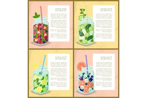 Detox Diet Set Posters Juicy Vegetarian Cocktails