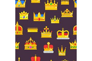Crown vector golden royal jewelry symbol of king set queen princess crowning prince authority crown jeweles seamless pattern background