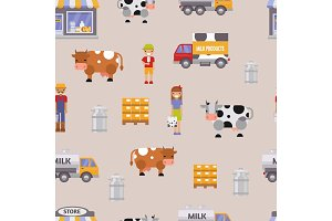 Vector illustration milk dairy farm to table healthy factory organic milky food farmers woman and man delivery seamless pattern background. Milk track, cow, family