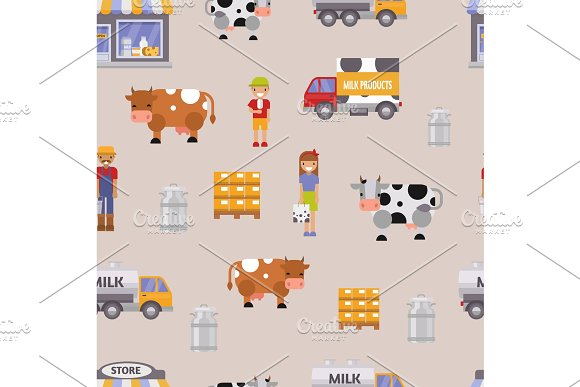 Vector Illustration Milk Dairy Farm To Table Healthy Factory Organic Milky Food Farmers Woman And Man Delivery Seamless Pattern Background Milk Track Cow Family
