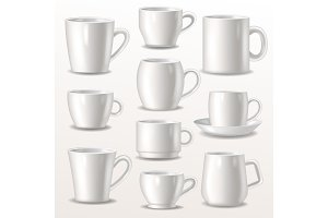 Cup vector empty mugs for coffee or tea for branding and simple teacup of various shapes illustration set of white cupful or mugful isolated on white background