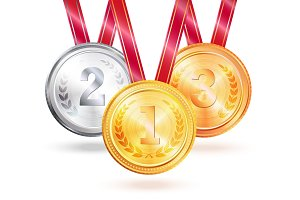 Medals for Winners Challenge Vector Illustration