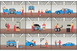 Automobile Service Color Vector Illustrations Set