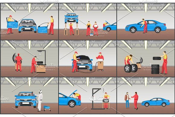 Automobile Service Color Vector Illustrations Set