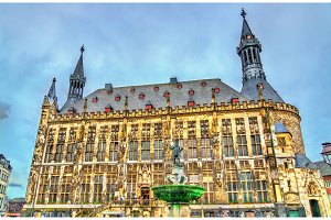 Aachener Rathaus, the Town Hall of Aachen, built in the Gothic style. Germany