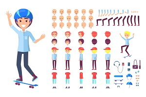Skater Constructor Collection Vector Illustration