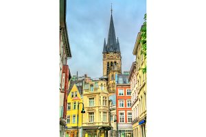 Street in the old town of Aachen, view to the Cathedral. Germany