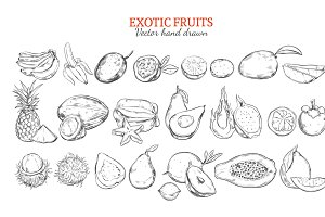 Exotic And Tropical Fruits Set