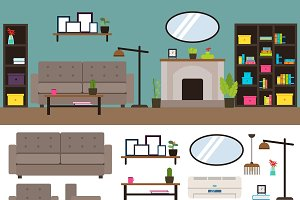 Living Room Interior Elements Set