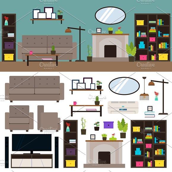 Living Room Interior Elements Set