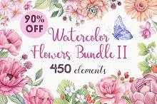 -90% OFF - Watercolor Flowers Bundle