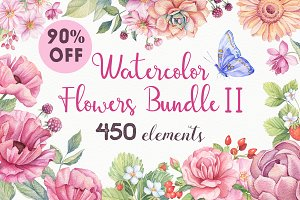 -90% OFF - Watercolor Flowers Bundle