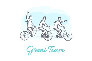 Great Team Poster and People Vector Illustration