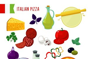 Flat Italian Pizza Ingredients Set