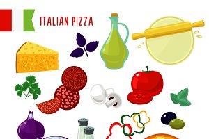 Flat Italian Pizza Ingredients Set