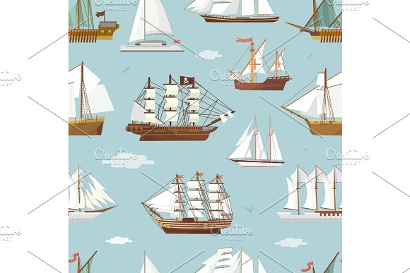 Vector Ship Boat Miniature Vessel Old Vintage Sailboat Souvenir Sea Shipping Travel White Canvase Seamless Pattern Background Adventure Sailboats