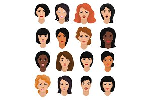 Woman portrait vector female character face of girl with hairstyle and cartoon person with various skin tone illustration set of beautiful facial features isolated on white background