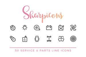 Service & Car Parts Line Icons