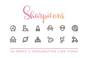 Space & Exploration Line Icons