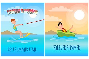 Lovely Summer Time Colorful Vector Illustration
