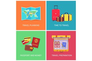 Travel Planning Banners Set Vector Illustration