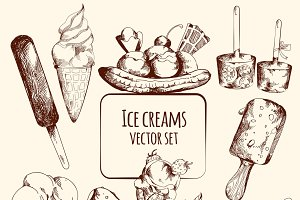 Ice cream sketch set