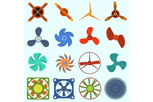Fans and propellers vector technology icons isolated object. Propeller fan icons cool ventilation ship symbol retro cooler boat equipment. Ventilator symbol wind equipment propeller fan icons
