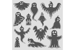 Cartoon spooky Ghost character vector set. Halloween scary holiday monster design ghost character. Costume evil silhouette ghost character creepy funny cartoon cute spooky night symbol