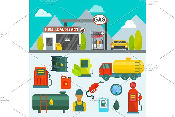 Oil tank in cargo service terminal piping factory power system fuel storage  gas oil station steel chemical pump vector illustration  Petroleum