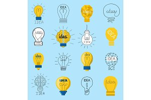 Sweet business idea light bulb concept creative vector icons design. Bulbs Idea lamp innovation electric creativity inspiration concept. Bright icon symbol solution lightbulb. Creative concept