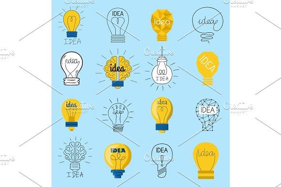 Sweet Business Idea Light Bulb Concept Creative Vector Icons Design Bulbs Idea Lamp Innovation Electric Creativity Inspiration Concept Bright Icon Symbol Solution Lightbulb Creative Concept