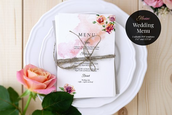 Wedding Menu Template Monroe