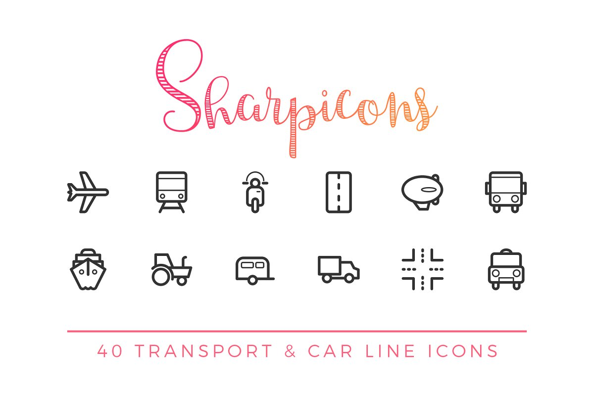 Transport & Car Line Icons