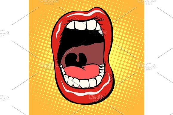 Open Mouth With Teeth Isolate On White Background