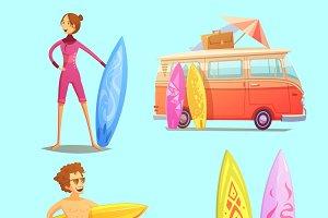 Surfing retro cartoon icons set