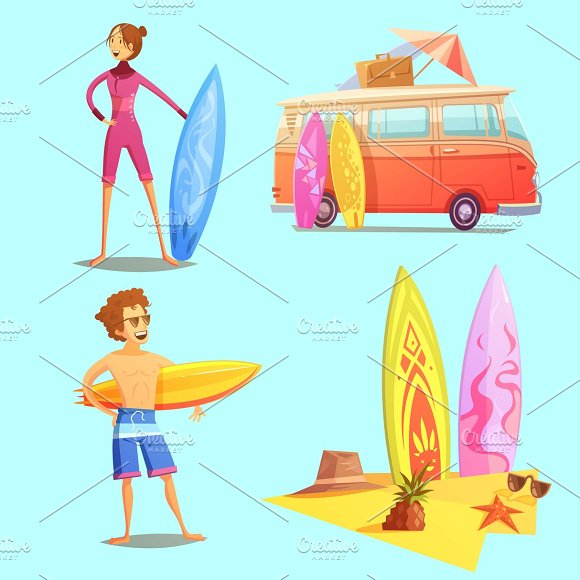 Surfing Retro Cartoon Icons Set