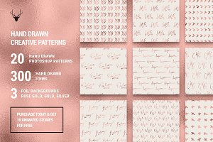 Rose Gold Hand Drawn Pattern Pack