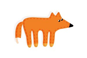 Sticker of Fox Fluffy Tail Vector Illustration Toy