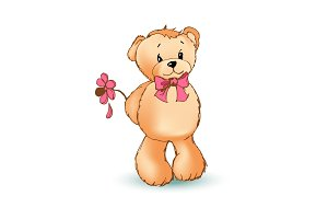 Romantic Teddy Bear and Flower Vector Illustration